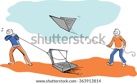 Comparing different computers, funny vector image - stock vector