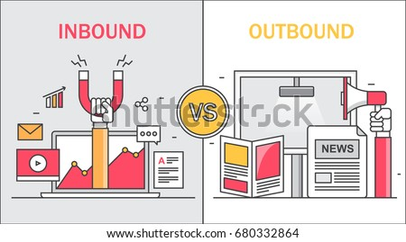 Comparison between inbound and outbound marketing, on-line and offline marketing thin line vector concept with icons