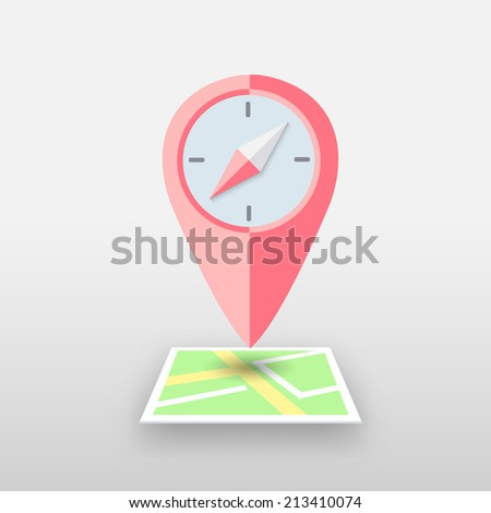 Compass and Pin. Vector map illustration - stock vector