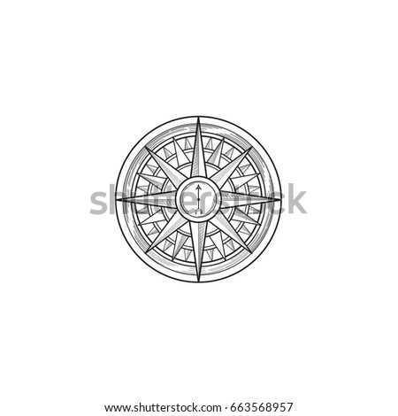 Compass black wind rose hand drawn design element. Sketch sign isolated on white