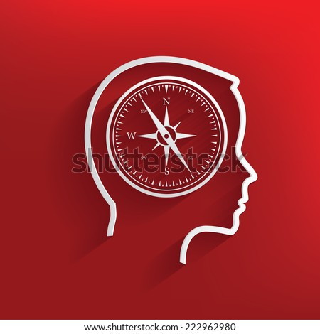 Compass brain symbol on red background,clean vector - stock vector