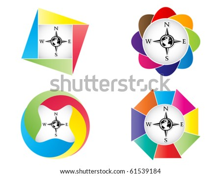Compass button - stock vector