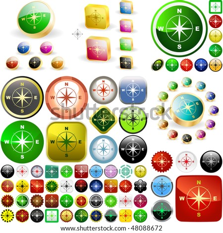 Compass buttons. Great collection. - stock vector