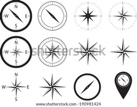 Compass collection illustrated on white - stock vector
