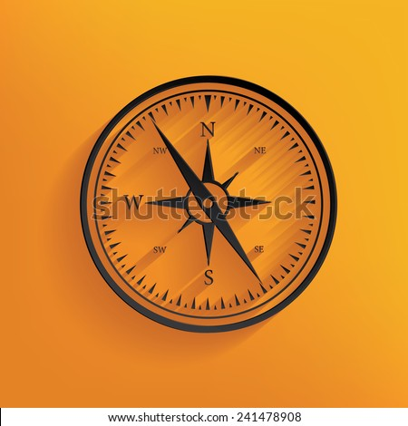 Compass design on yellow background, clean vector - stock vector