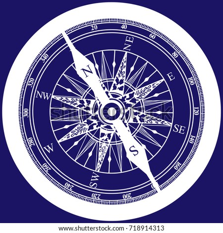 Compass detailed. seafaring and navigation. Orientation and direction