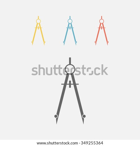compass, dividers icon set - stock vector