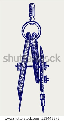 Compass. Doodle style - stock vector