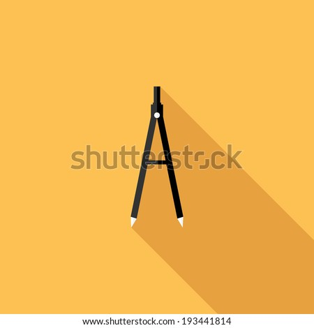 Compass (drafting) icon. Flat design style modern vector illustration. Isolated on stylish color background. Flat long shadow icon. Elements in flat design. - stock vector