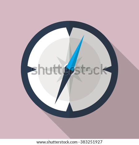 Compass flat icon. Vector icon of a navigational compass in flat style with long shadow. EPS10 clean vector illustration.