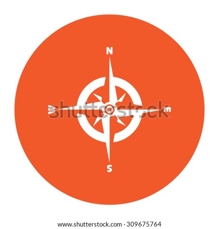 Compass. Flat white symbol in the orange circle. Vector illustration icon - stock vector