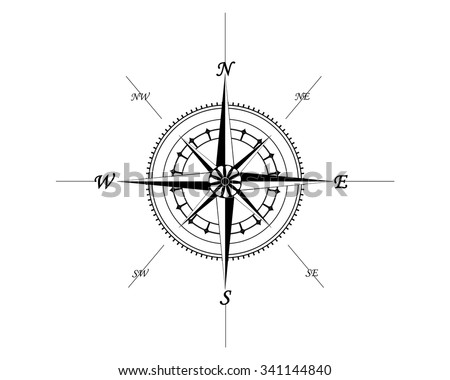 compass for ships, precise direction of the seas rivers and oceans  - stock vector