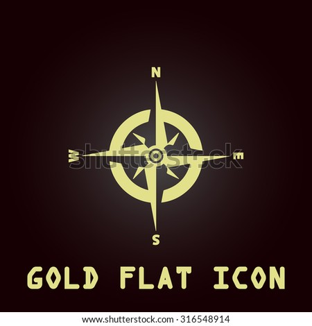 Compass. Gold flat vector icon. Symbol for web and mobile applications for use as logo, pictogram, infographic element - stock vector
