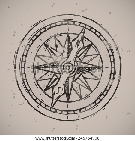 Compass icon badge. Vintage retro style seal, monochrome vector art illustration. - stock vector