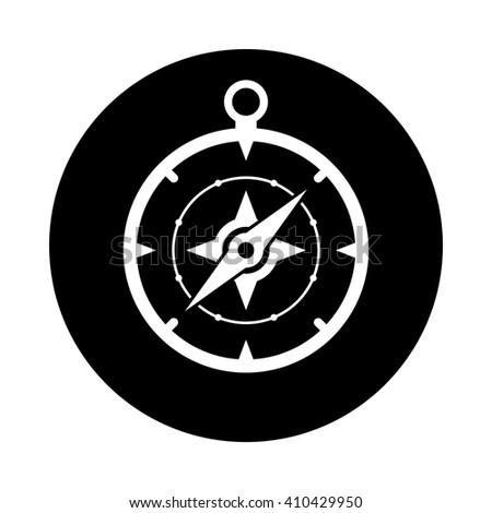 Compass icon. Black round icon isolated on white background. Round icon. Compass silhouette. Simple circle icon. Web site page and mobile app design vector element.