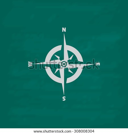 Compass. Icon. Imitation draw with white chalk on green chalkboard. Flat Pictogram and School board background. Vector illustration symbol - stock vector
