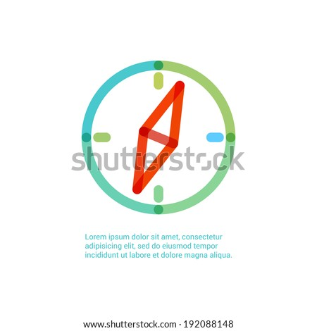 Compass icon infographic illustration template for web or brochure. Vector illustration. Security and safety concept illustration.  - stock vector