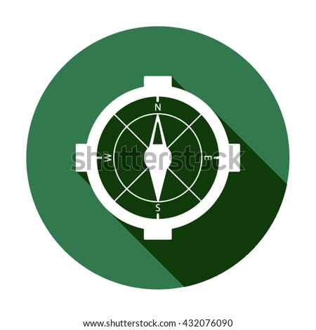 compass  icon,  isolated. Flat  design.