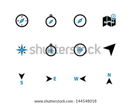 Compass icons on white background. Vector illustration. - stock vector