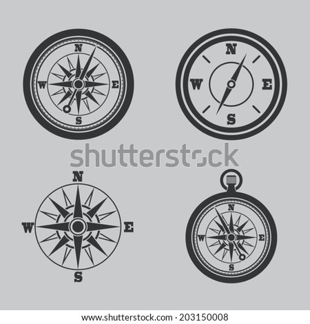 Compass icons set - stock vector