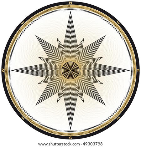 Compass illustration, each of the 360 degrees marked and numbered, in vector format. - stock vector