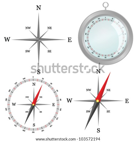 compass in silver color in part vector illustration - stock vector
