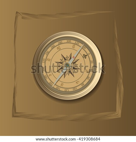 compass in the frame, vector illustration