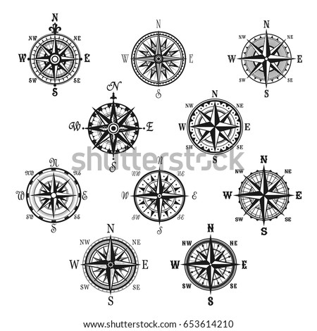 Compass Isolated Symbol Set Vintage Compass Stock Vector Royalty