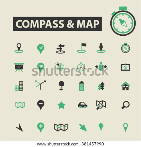 compass map icons - stock vector