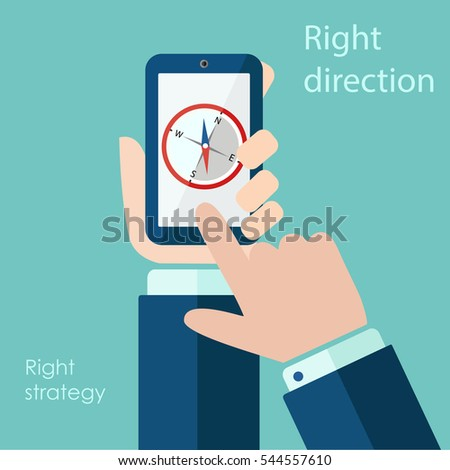 compass mobile phone navigation vector illustration eps 10.Vector hands and smartphone with compass app on touch screen. Vector flat cartoon illustration.