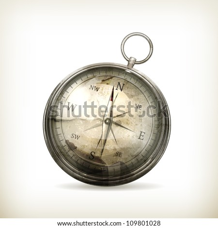 Compass, old-style vector isolated - stock vector