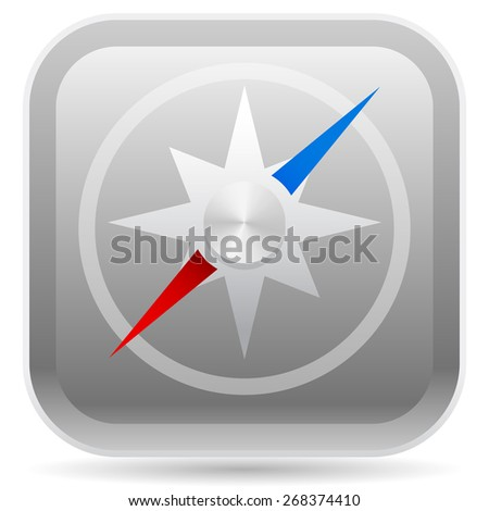 Compass on Rounded Square Vector Icon - stock vector
