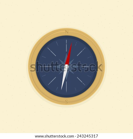 compass on the sand, illustration vector format.