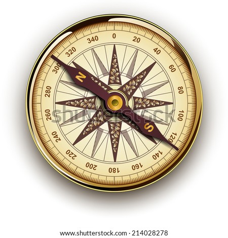 Compass, retro vector design. - stock vector