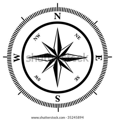 Compass rose in black and white, vector illustration - stock vector