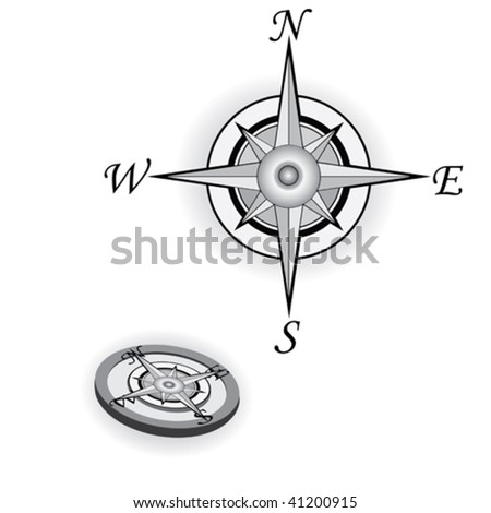 Compass rose isolated on white background, vector illustration - stock vector