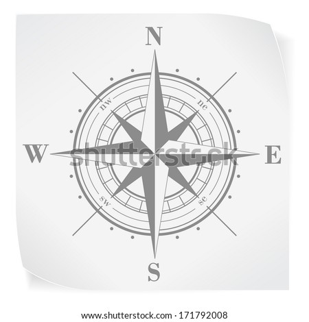 Compass rose over white paper sticker isolated on white. Vector EPS10. - stock vector