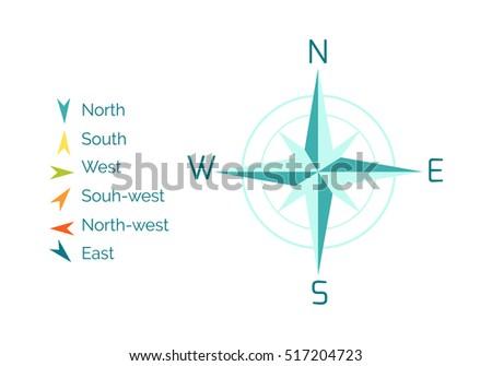 Compass Rose Vector Flat Design Cartographic Stock Vector Royalty