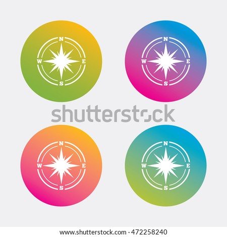 Compass sign icon. Windrose navigation symbol. Gradient flat buttons with icon. Modern design. Vector