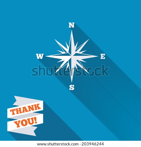 Compass sign icon. Windrose navigation symbol. White flat icon with long shadow. Paper ribbon label with Thank you text. Vector - stock vector