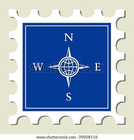Compass Sign Stamp - stock vector
