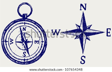 Compass sketch - stock vector