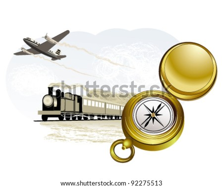 Compass, train and plane - stock vector
