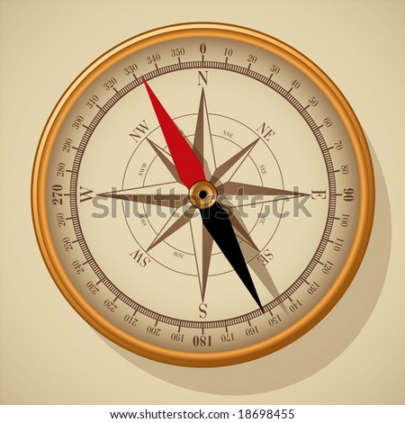 Compass. Vector. - stock vector