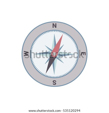 Compass vector flat illustration