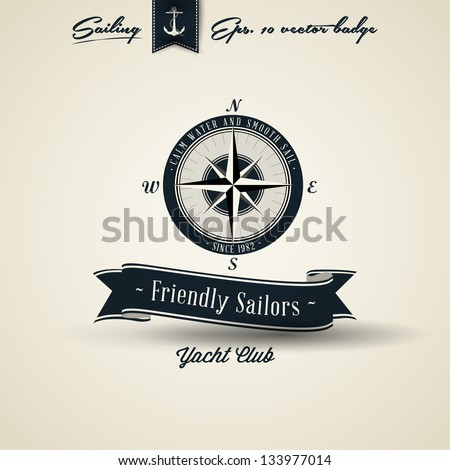 Compass Vintage Retro Nautical Badge | Editable EPS 10 vector - stock vector