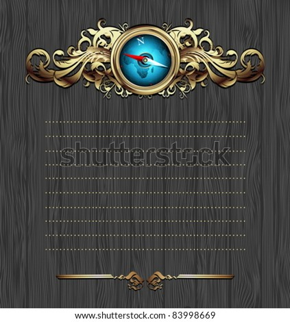 compass with ornate frame - stock vector