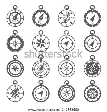 Compass world discovery travel exploration equipment icon black set isolated vector illustration - stock vector