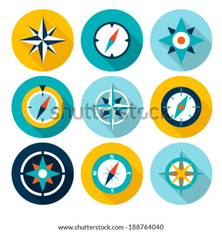 Compasses flat icons set. Vector illustration. - stock vector