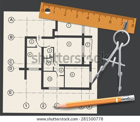 Compasses, pencil and ruler on a background of the drawing apartments. Vector illustration - stock vector
